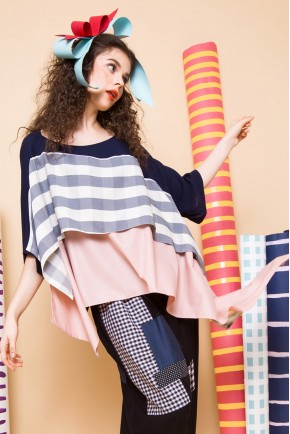 ELIANE TOP GREY STRIPES / PINK